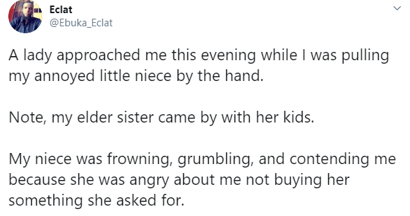 Twitter user recounts how a lady suffering from PTSD after her niece got missing, accosted him  after seeing him pull his annoyed little niece