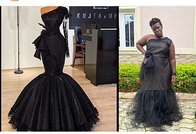 """Who I offend?"" Warri Pikin asks as she shows the outfit she ordered and what her designer made"