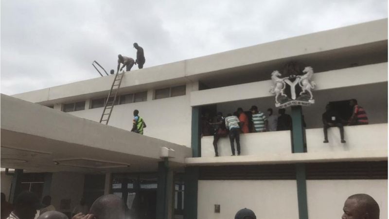 Edo House of Assembly roof removed, iconic mace taken down (video)