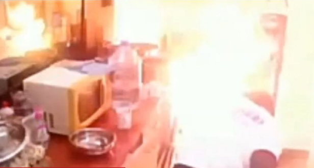 Big Brother Cameroon housemates flee as house almost goes up in flames (video)