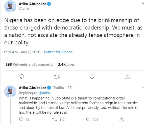 What is happening in Edo threatens constitutional order nationwide - Atiku