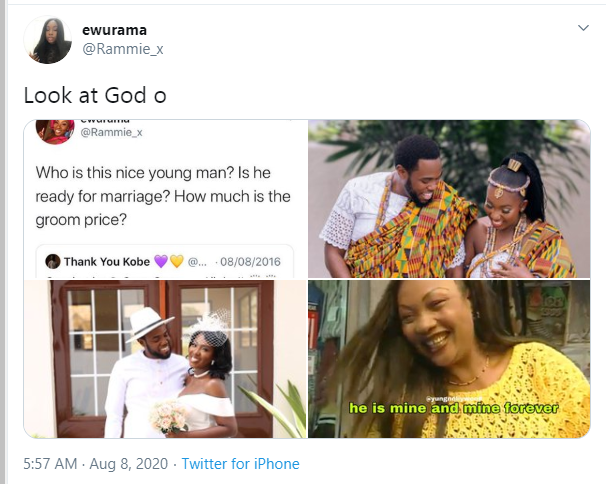 Twitter users marry 4 years after the lady joked about paying the man