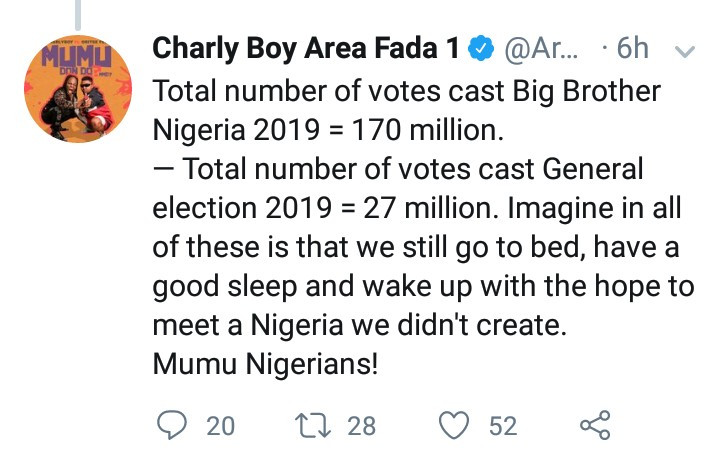"""Mumu Nigerians"" Charly Boy slams Nigerian youths for paying more attention to Big Brother Naija than they do to important issues"