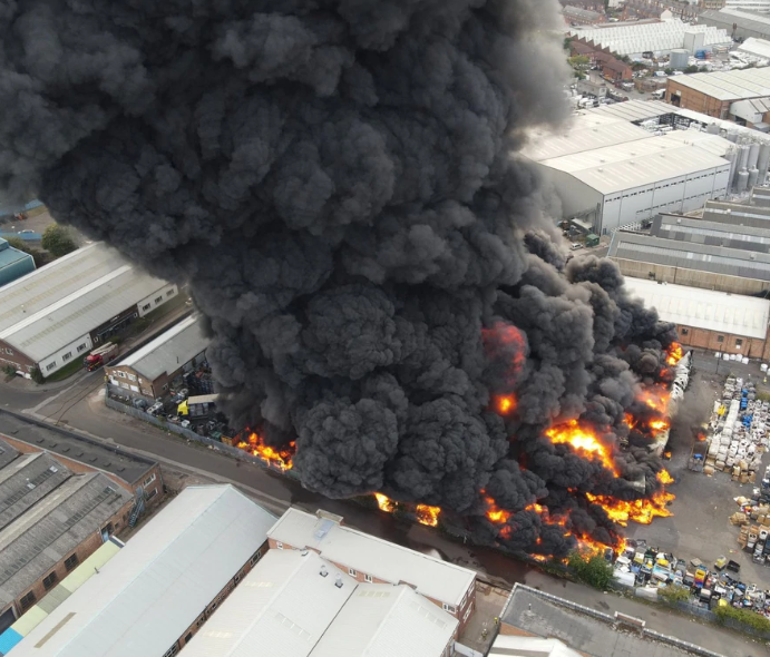 VIDEO: Huge fire breaks out in Birmingham and over 100 firefighters battle to put it out