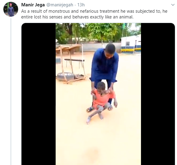 Moment epileptic boy chained for two years alongside animals is rescued (videos)
