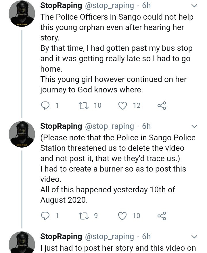 Bus passengers shocked as 11-year-old orphan narrates how her stepfather and other grown men allegedly gang rape her in Ogun (video)