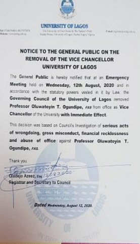 UNILAG governing council sacks Vice Chancellor, Professor Toyin Ogundipe