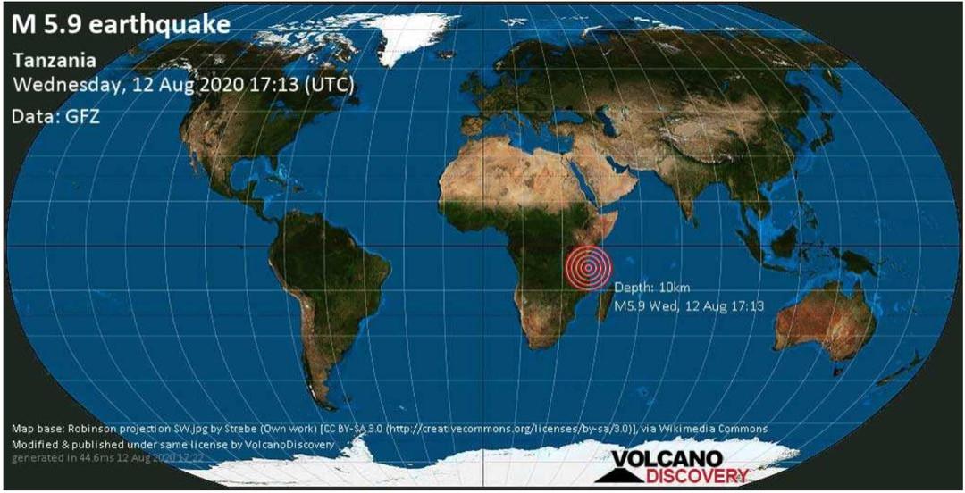 Strong earthquake?hits off-shore Tanzania near Dar-Es-Salaam