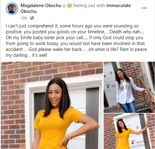 Nigerian lady who was set to wed in October crushed by truck in Ajah