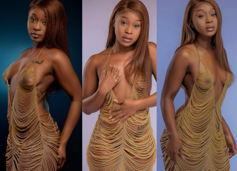 Ghanaian actress, Efia Odo leaves little to the imagination as she poses in a revealing chain dress (+18 photos)