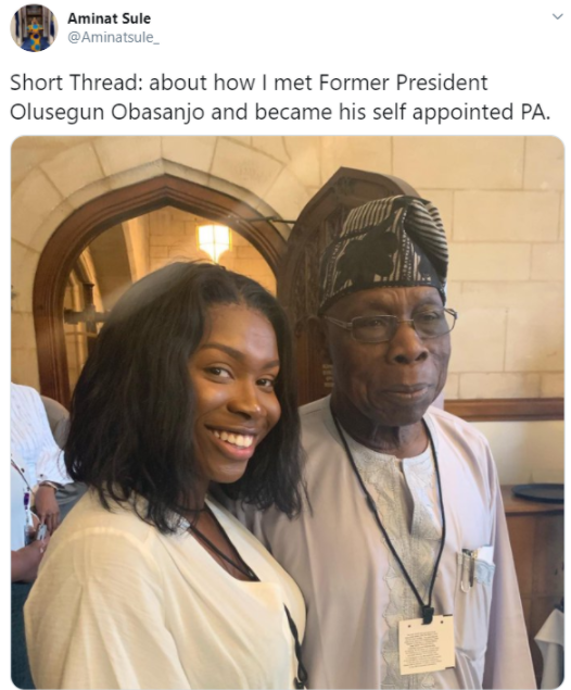 Woman narrates the drastic action she took when she met Obasanjo that made her his PA till date