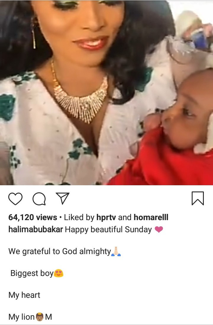 Halima Abubakar shows off her adorable son