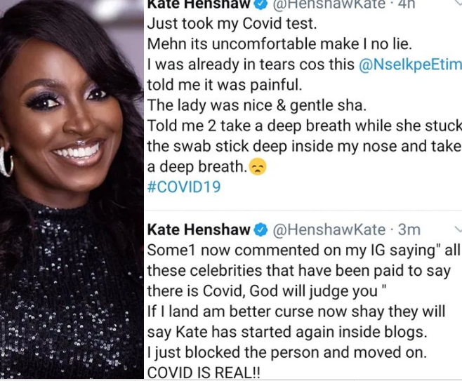 Kate Henshaw expresses outrage after a follower reacted to her COVID-19 test by insinuating that she was paid to make people believe the virus is real in Nigeria