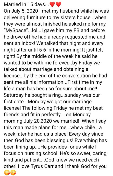 Lady who got married to her husband 15 days after meeting him, shares their love story