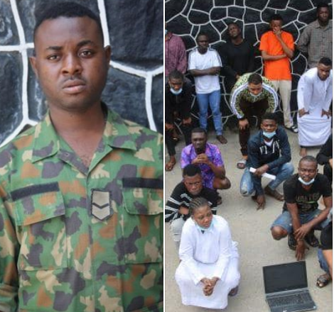 EFCC arrests soldier and 26 others for alleged internet fraud in Lekki (photos)