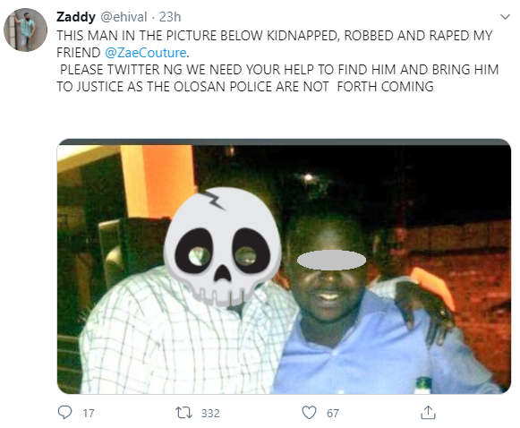 Man accused of abducting 21-yr-old Lagos fashion designer and repeatedly raping her overnight