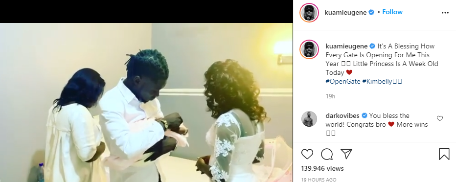 Singer Kuami Eugene welcomes a baby girl