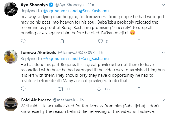 Nigerians react as video of late Senator Kashamu Buruji asking billionaire businessman, Chief Kessington Adebutu for forgiveness before his death, leaks