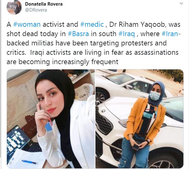 Female Iraqi activist shot dead in Basra