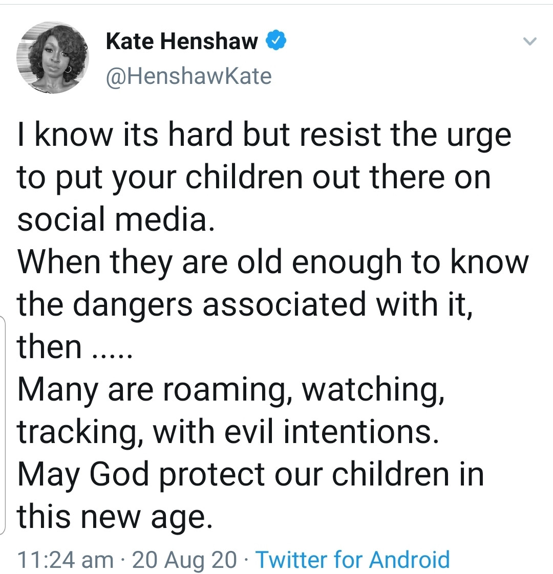 Resist the urge to put your children out there on social media- Kate Henshaw cautions parents