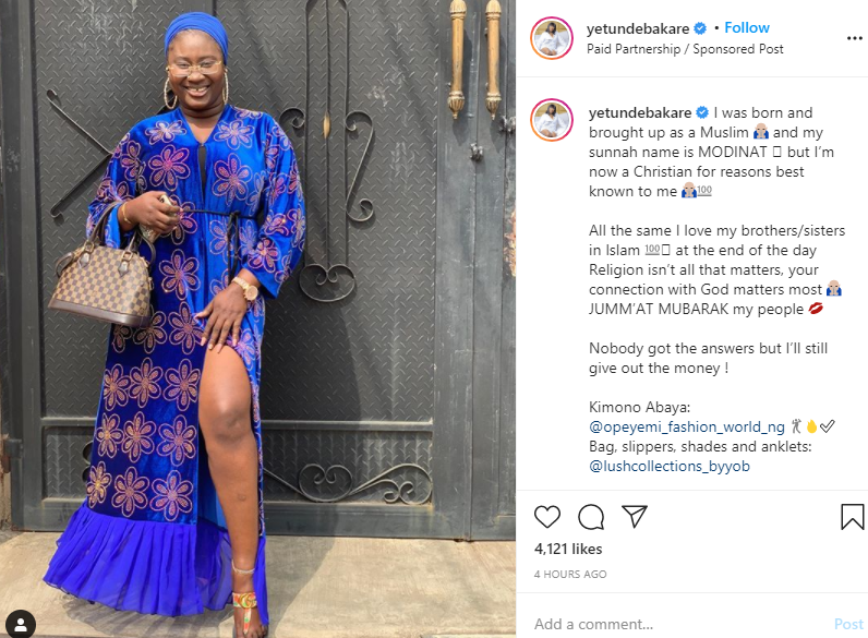 Religion doesn?t not matter ? Actress Yetunde Bakare says after converting from Islam to Christianity