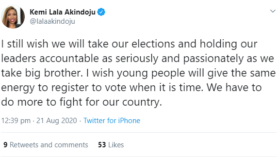 """""""I wish young people will give the same energy they give BBN to politics- Actress Lala Akindoju says"""