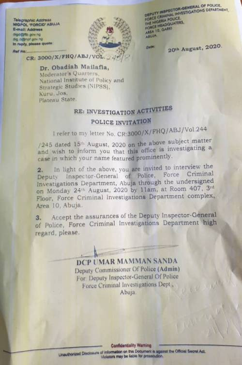 Police invites Obadiah Mailafia for questioning over his comment about a Northern governor allegedly being the commander of Boko Haram in Nigeria
