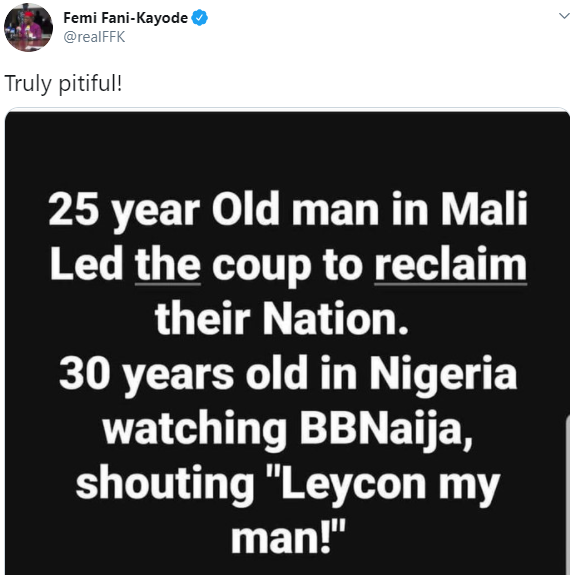 FFK knocks Nigerian youths for focusing on BBNaija while their mates in Mali led a coup to reclaim their nation