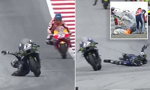 Shocking moment MotoGP rider Maverick Vinales instantly jumped off his bike at 125mph to avoid massive crash after his brakes failed him (photos/Video)
