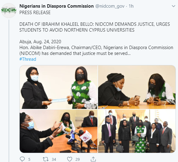 NIDCOM demands justice for Nigerian student, Ibrahim Khaleel Bello, killed in Cyprus; urge Nigerian students to avoid Northern Cyprus universities
