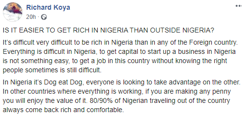 It is easier and faster to get rich overseas than in Nigeria- Nigerian photographer, Richard Koya, says