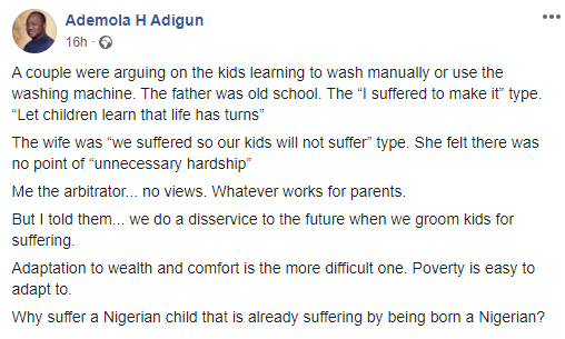 """We do a disservice to the future when we groom kids for suffering"" Columnist Ademola Adigun says, prompting a debate"