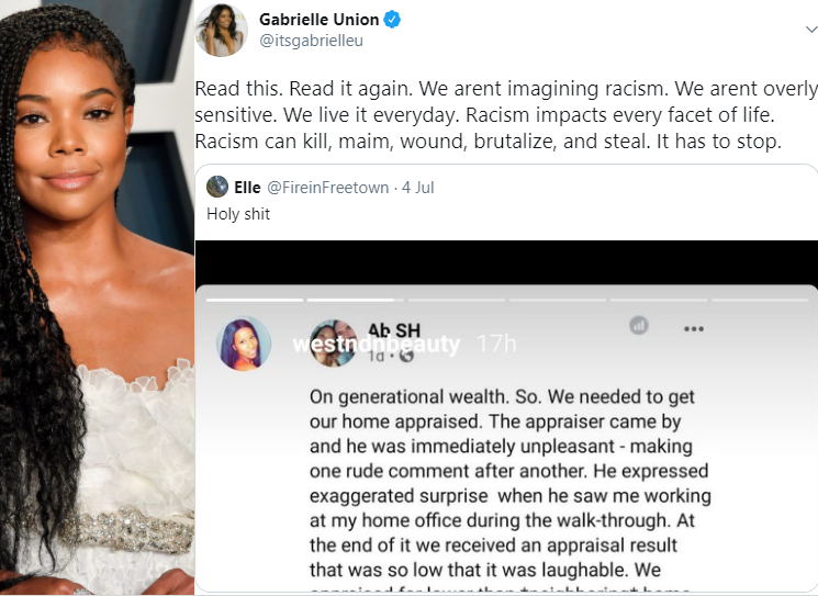 """We arent imagining racism. We live it everyday"" Gabrielle Union shares a woman"