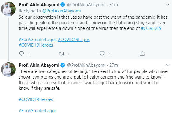 Lagos state has passed the peak of the COVID-19 pandemic and is now on the flattening stage- Commissioner for Health, Professor Akin Abayomi