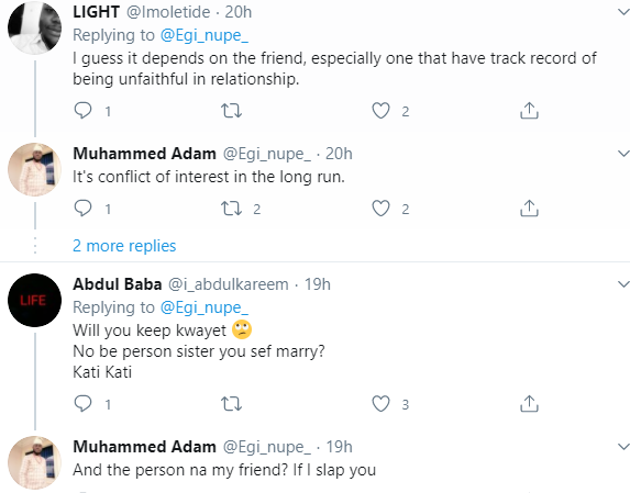 Twitter users react after Nigerian lawyer tweets that it?s disrespectful and an act of betrayal for his friend to show interest in his sister