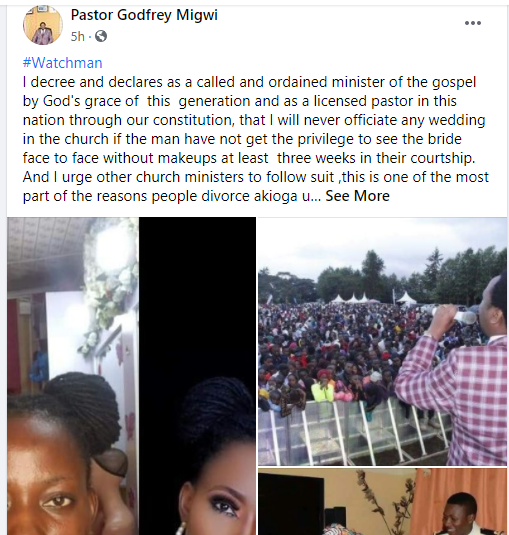 I will never officiate a wedding if the man has not seen the bride?s face without makeup ? Pastor Godfrey Migwi