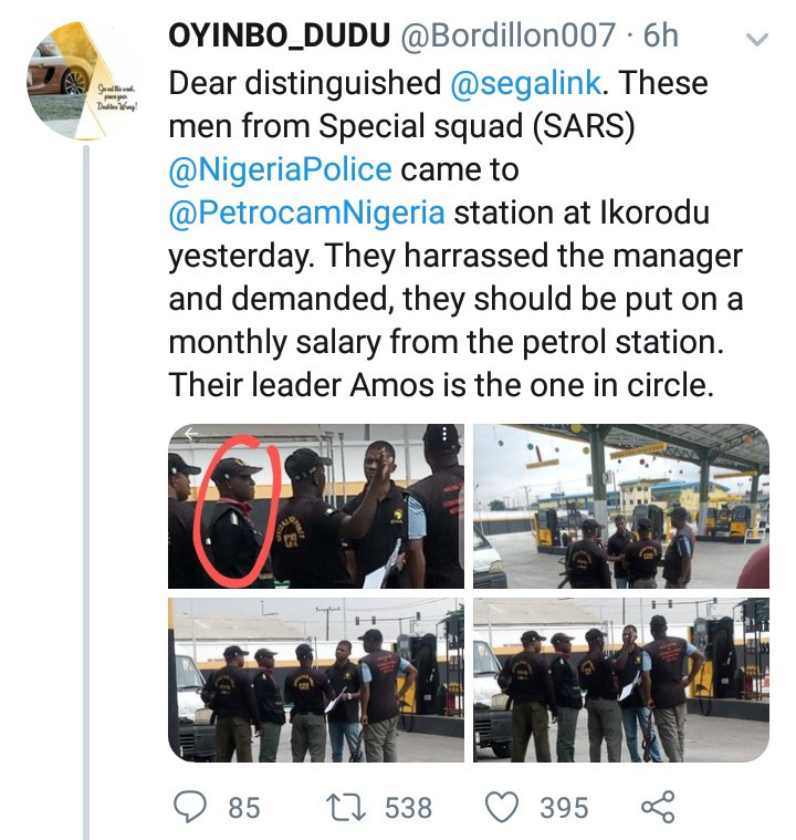 SARS in Ikorodu allegedly harrass petrol station manager and demand that he pays them monthly salary