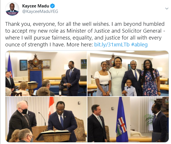 Nigerian man, Kaycee Madu appointed Minister of Justice in Canada