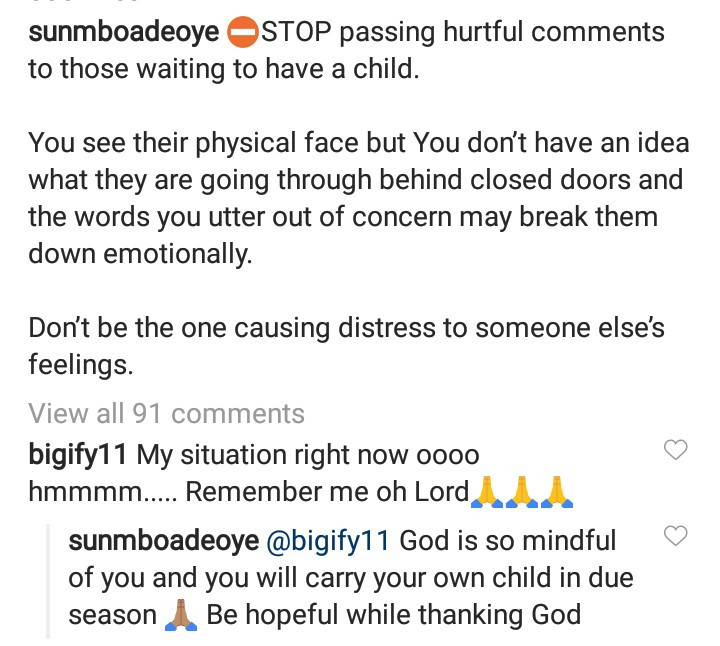 Sunmbo Adeoye reveals the horrible things said to her when she experienced a delay in having a child with her husband