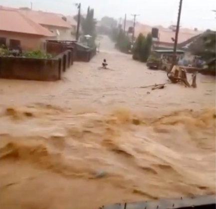 Moment heavy flood sweeps man away in Abuja before his dead body was found hours later (video)