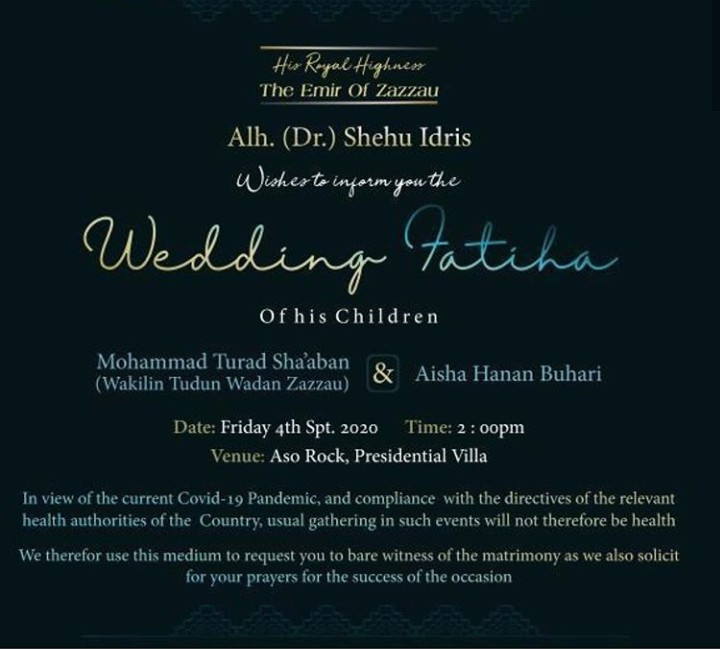 Wedding invitation of President Buhari?s daughter, Hanan, 22, to Turad Sha?aban is released