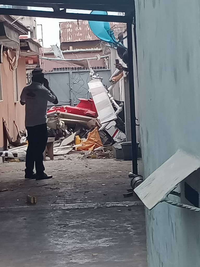 Breaking: Helicopter crashes into building in Lagos (photos)