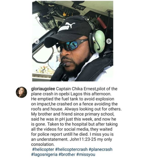 """They waited for police report until he died""- Lady mourns pilot of ill-fated helicopter that crashed in Lagos"