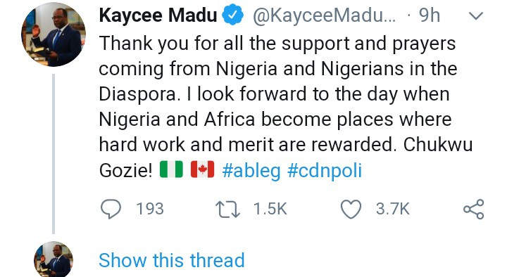 """I look forward to the day when Nigeria and Africa become places where hard work and merit are rewarded"" Nigerian-born Kayce Madu appointed Justice Minister in Canada writes"