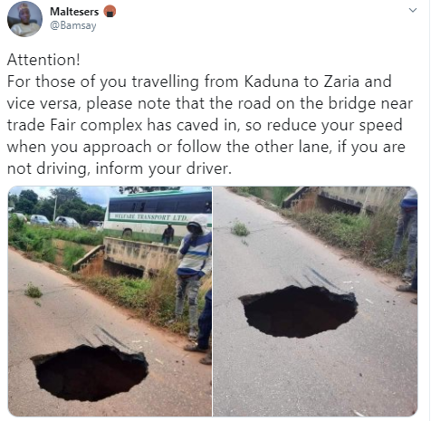 Twitter user draws the attention of the public to a sinkhole along the Kaduna-Zaria expressway (photos)