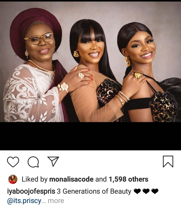 Iyabo Ojo, her mother, and her daughter pose for beautiful 3 generations photos