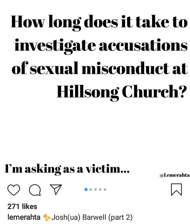 Woman accuses Hillsong church of failing to act after she accused the son of two pastors of sexual misconduct