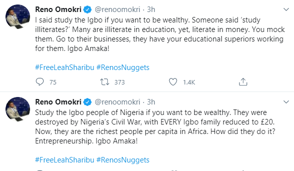Study the Igbo people of Nigeria if you want to be wealthy - Reno Omokri