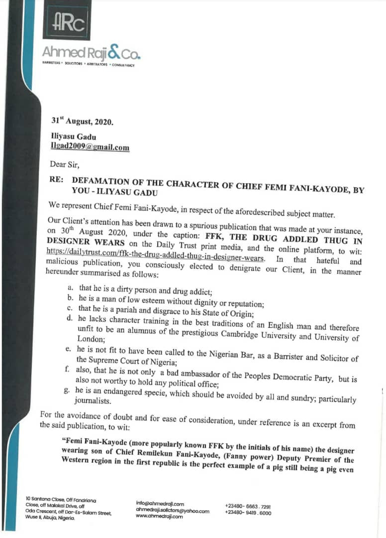 FFK writes Daily Trust; demands N6b damage fee and an apology over