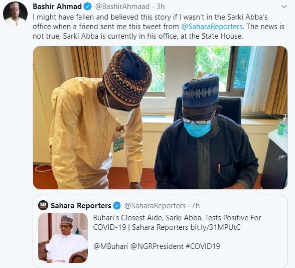 Bashir Ahmad denies reports that one of President Buhari